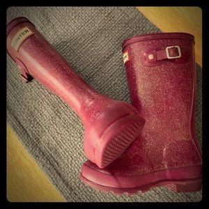 Hunter Purple sparkle rain boots